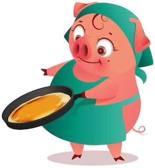 Домохозяйка свиньи самки печет блины в сковороде