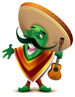 Поет зеленый мексиканский кактус в сомбреро и пончо