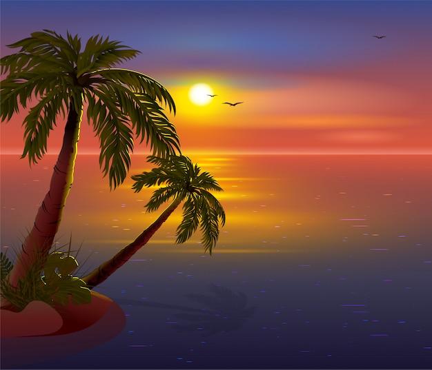 Романтический закат на тропическом острове. пальмы, море, темное небо и чайки