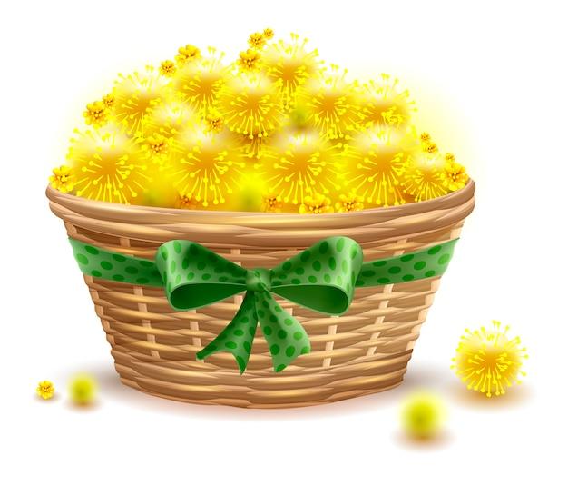 黄色いミモザの花の完全な枝編み細工品バスケット