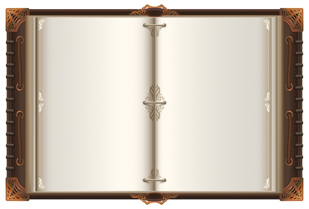 ヴィンテージの古い開かれた本は空白ページとモックアップを広げた