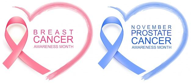 Национальный месяц осведомленности о раке молочной железы. плакат розовая лента, текст и форма сердца. ноябрь осознание рака простаты голубая лента и символ сердца