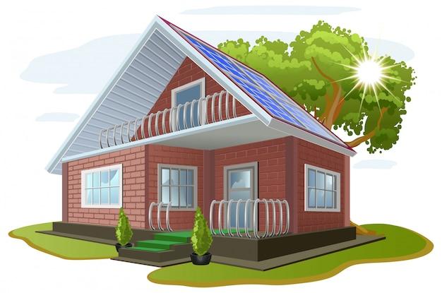 太陽光エネルギー。環境への配慮。屋根にソーラーパネルのある家。代替エネルギー源