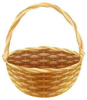 空の枝編み細工品バスケット。わらで作られた枝編み細工品バスケット
