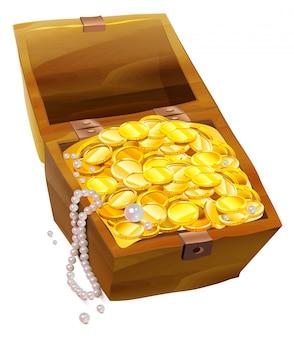 Откройте сундук с золотыми монетами и жемчугом. пиратский сундук с сокровищами