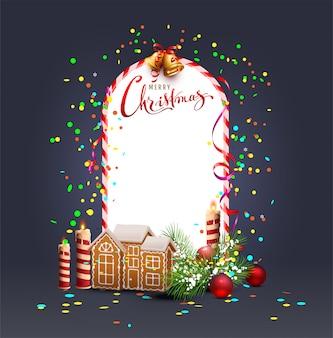 メリークリスマステンプレートフレームグリーティングカード