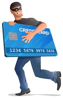 Человек грабитель бежит с кредитной картой