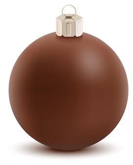 茶色のチョコレートクリスマスボール。甘いお祭りの装飾
