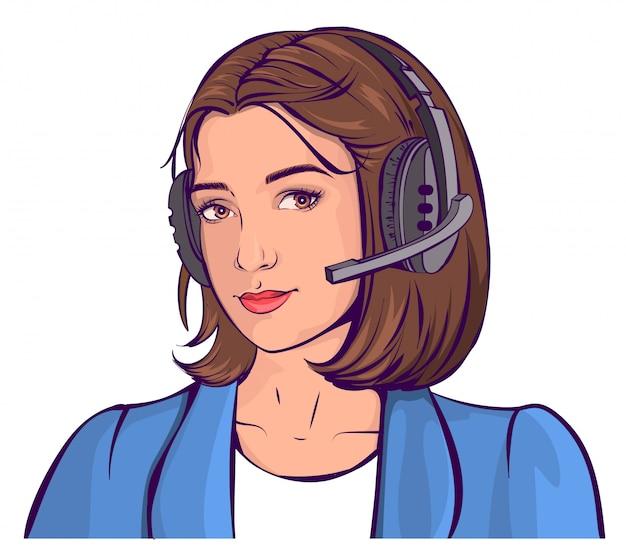 サポートサービス。ヘッドフォンで美しい若い女性の頭