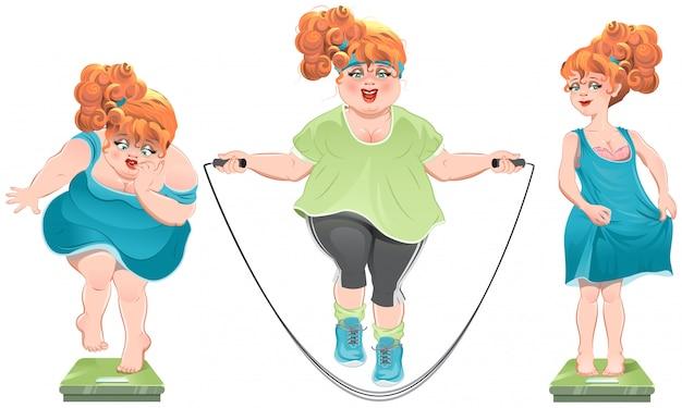 Толстая женщина смотрит на весы. она похудела. тонкая рыжеволосая девушка стоит на весах