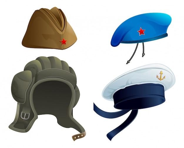 Установите головной убор военной армии. русская военная гарнизонная шапка. современная военная шляпа