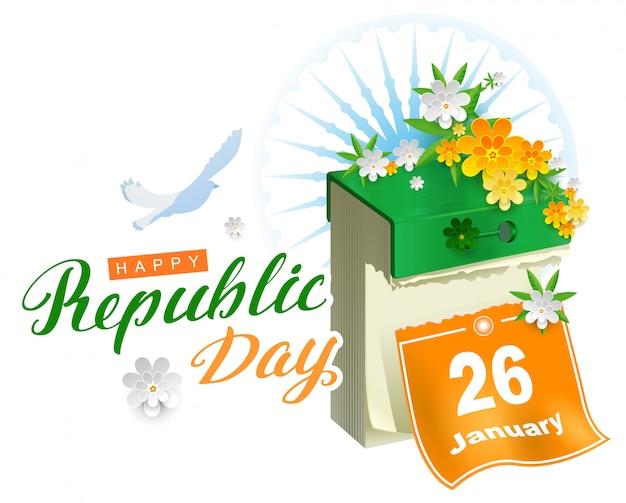 幸せな共和国日インドカレンダーと平和の白い鳩のシンボル