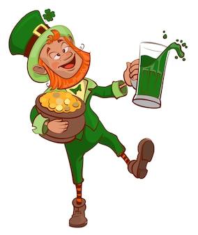 酔って楽しいパトリックは、金のポットと緑色のビールのグラスを持っています