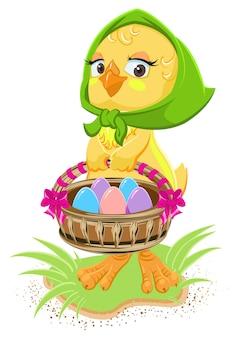 Пасха - курица держит корзину с яйцами