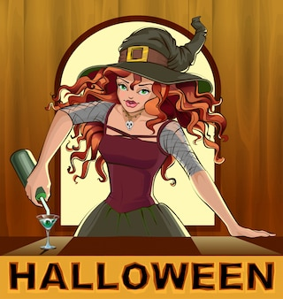 Рыжая красивая милая ведьма наливает коктейли на хэллоуин