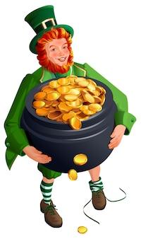 Патрик гном держит большой горшок с золотом. мультфильм иллюстрация