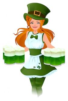 Официантка патрик держит стакан зеленого пива