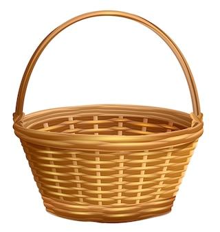 ハンドルアークと空の枝編み細工品バスケット