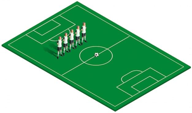 緑のサッカー場、サッカーボール、チームプレーヤー