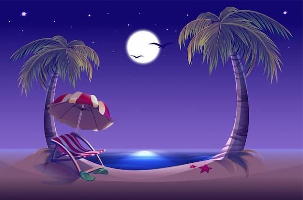 夜のビーチ。海、月、ヤシの木、砂。ロマンチックな夏休み
