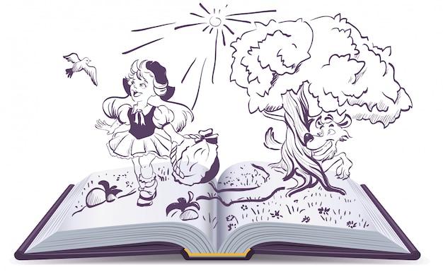 赤ずきんと灰色オオカミの物語。開いた本のファンタジー