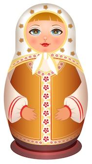 Русская девушка деревянная кукла. традиционная национальная игрушечная матрешка