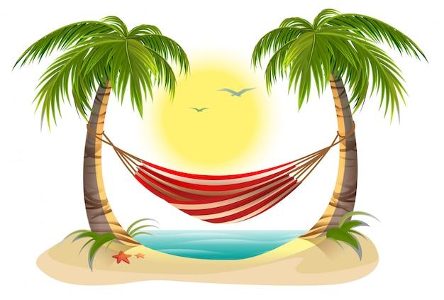 ビーチでの休暇。ヤシの木の間のハンモック