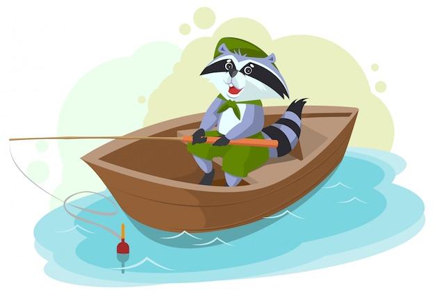 Енот в рыбацкой лодке. скаутский рыбак