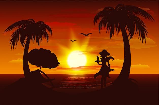 Вечерний закат на море. море, пальмы, силуэт девушки с напитком