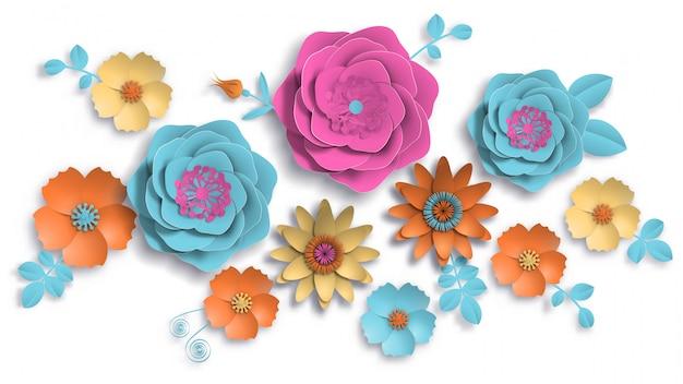 ペーパーアート、紙のカットと葉と夏の花。