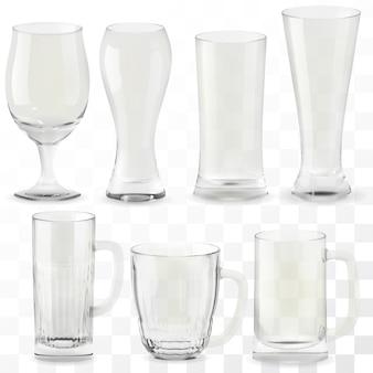 現実的な透明なビールのグラスのセット。アルコールドリンクグラス