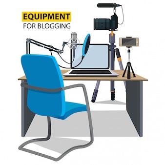 Рабочее место для блоггера, оборудование для ведения блога