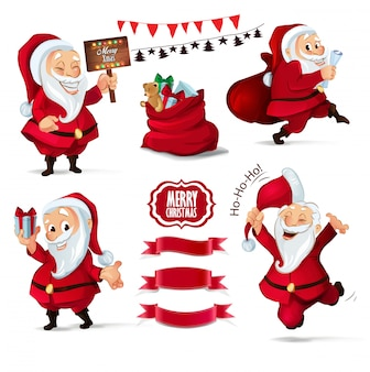 クリスマスサンタクロースのキャラクターとリボンのコレクション
