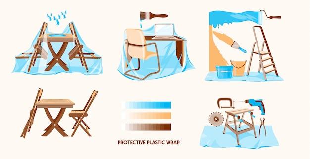 保護ビニールラップ。プラスチックフィルムのラッピング。プラスチックで覆われた家具