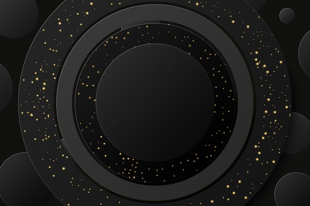 金色のキラキラ背景を持つ抽象的な黒い金色輝くリング。
