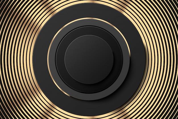 ゴールデンリングと黒いボタンバナー。階段状のリングの幾何学的図形と金の抽象的な背景