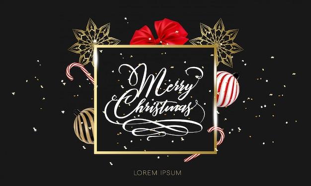 金の紙吹雪でメリークリスマス手レタリング