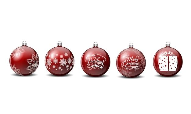 メリークリスマスサイン雪片で赤い色のベクトルクリスマスボール