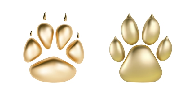 動物のロゴタイプまたは白い背景で隔離のアイコンのベクター黄金の足印刷