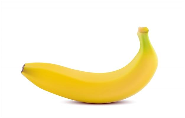 白で隔離される現実的なバナナ