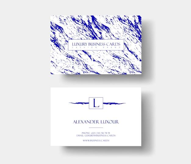 ファッショナブルな名刺、抽象的な青い大理石のテクスチャ。