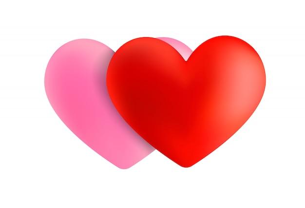 バレンタインデーの赤とピンクのハート。