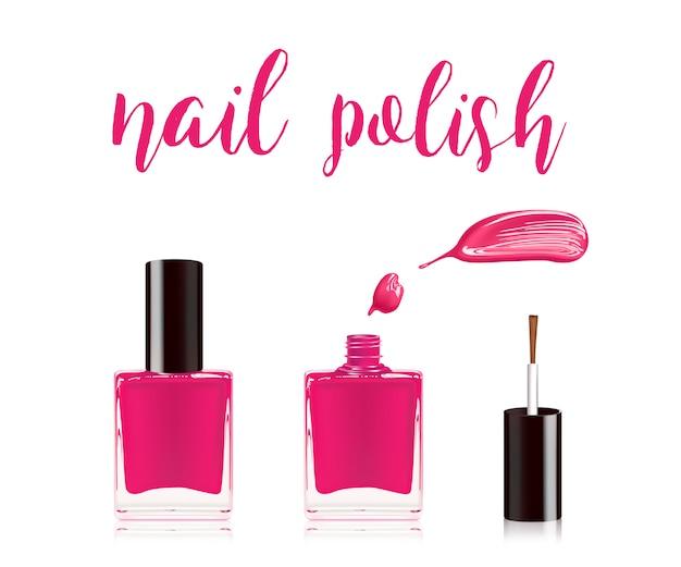 Розовый лак для ногтей.