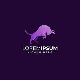 Сильный бычий логотип в современном стиле