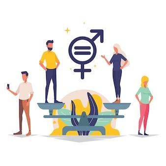 Мужской и женский персонаж на весах для иллюстрации гендерного равенства