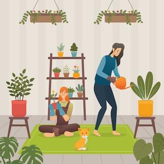 家のイラストで植物の世話をする女性