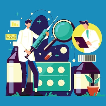 Доктор характер холдинг медицинский шприц для инъекций