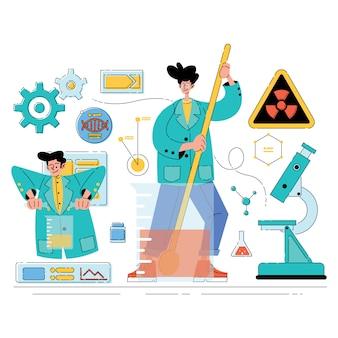Люди иллюстрация ученый химический эксперимент
