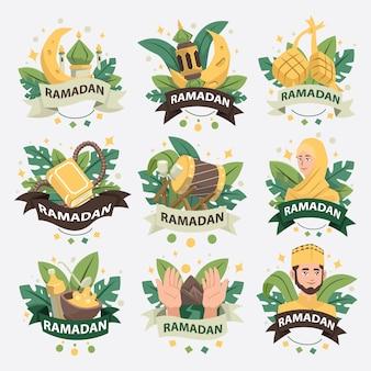 Рамадан логотип коллекция значков