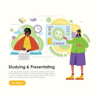 Иллюстрация женщин работает для писателя и представления